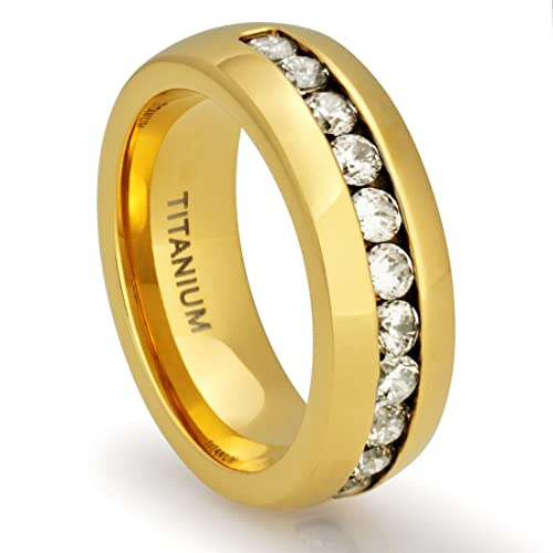 8MM-Men-s-Titanium-18K-Gold-Plated-Ring-Wedding-Band-with-Channel-Set-CZ-Simulated-Diamonds