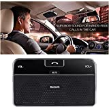 VicTsing Wireless Bluetooth 4.0 Visor In-Car Speakerphone Handsfree Car Kit Built-in Microphone For iPhone 5 5S 5C 4S 4 iPad, Samsung Galaxy S5 S4 Note 2 Note 3, Google Nexus 7, Google LG Nexus 4, Google LG Optimus G Pro, Sony Xperia Z1 L39H Z L36h, Blackberry Z10, Smart Phones and All Bluetooth-enabled Cellphone