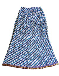 DollsofIndia Blue Diagonal Stripe On White Cotton Crushed Skirt - Length - 39 Inches - Elastic Waist - 26 To 38...