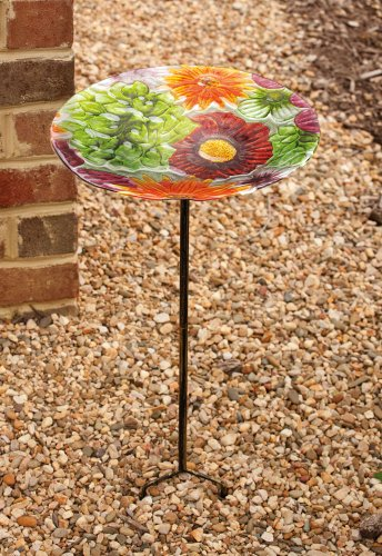 Summer Splash Glass Birdbath