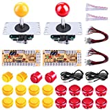 Gamelec 2-Player Arcade Buttons and Joystick DIY Controller Kit for Windows and Raspberry Pi,x 5 Pin Joysticks,Red and Yellow Each with 10 Buttons