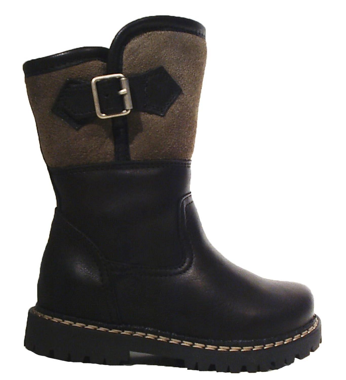 Dirndl+bua Trachtenschuhe Stiefel Leder Lammfell warm schwarz