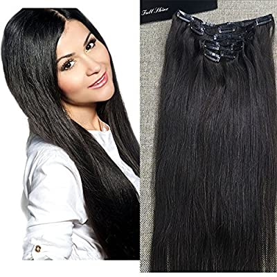"Full Shine 10"" 7 Piece Double Weft Clip in Human Hair Extensions 100gram Full Head Clip In Remy Human Hair Extensions Silky Straight Brazilian Hair Clip Extensions"