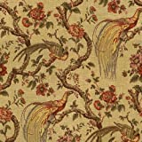 "54"" Wide Fabric Peacock Olana (Antique Gold background), Waverly Fabric By the Yard"