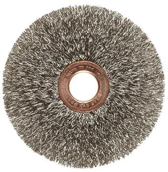"Weiler Copper Center Wire Wheel Brush, Round Hole, Stainless Steel 302, Crimped Wire, 3"" Diameter, 0.008"" Wire Diameter, 1/2"" Arbor, 1"" Bristle Length, 5/8"" Brush Face Width, 20000 rpm"