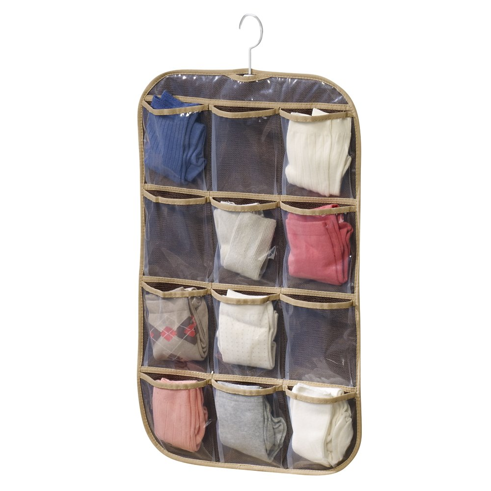 Household Essentials Jewelry and Stocking Set Hanging Organizer, Coffee Linen – Closet Hanging Jewelry Organizers