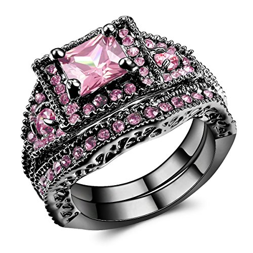 Jewelry Black Gold Filled Pink Zircon Stone Women's Engagement Ring Set US Si