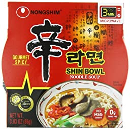 Nongshim Shin Big Bowl Noodle Soup, Gourmet Spicy, 3.03 Ounce (Pack of 12)