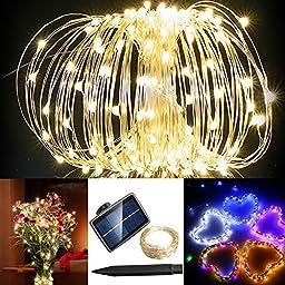 Solarmks TS-1150 Solar String Lights Warm White 72ft 150 Led Copper Wire Fairy Lights