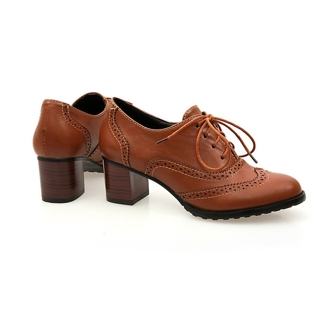 England Brogue Shoe Womens Lace-up Mid Heel Wingtip Oxfords Vintage PU Leather Shoes 2