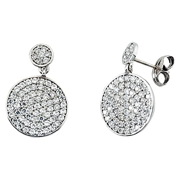 18k white gold cubic zirconia earring circles close pressure [5848]