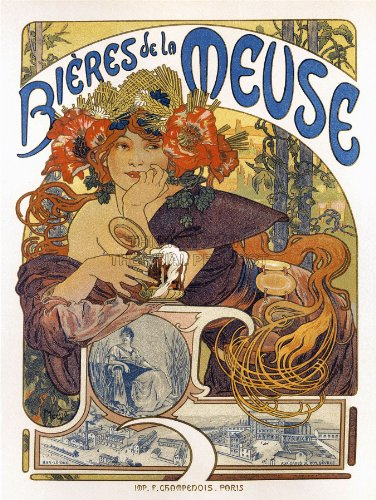 ADVERT BEER OF THE MEUSE PARIS FRANCE VINTAGE POSTER ART PRINT 12x16 inch 30x40cm 788PY