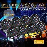 XeeStore 8pcs LED PAR Stage Light 18 X 3W Stage Lighting Auto DMX512 RGB Par64 Home Party DJ Club (Color: Black, Tamaño: 8PCS 18 X 3W)