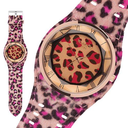 Taffstyle® Modern Frauenuhr Damen Armbanduhr Leoparden Style Damenuhr Fashion Damenarmbanduhr Analog Uhr mit Kunstleder Armband und Fell Leo Muster - Pink