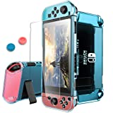 Pakesi for Nintendo Switch Case, Compatible with Nintendo Switch Cover Case and Tempered Glass Screen Protector (360 Degree Full Enclosure Protection)-Blue (Color: Blue)