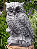 Garden ornament Owl, Cast stone, Slate grey
