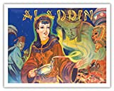 Aladdin - Pantomime Family Theatre Show at West End of London Coliseum - Vintage Theater Poster c.1930s - Fine Art Print - 11in x 14in