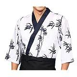 White Bamboo Chef Jackets Coats Sushi Restaurant Bar Clothes Uniforms (D)