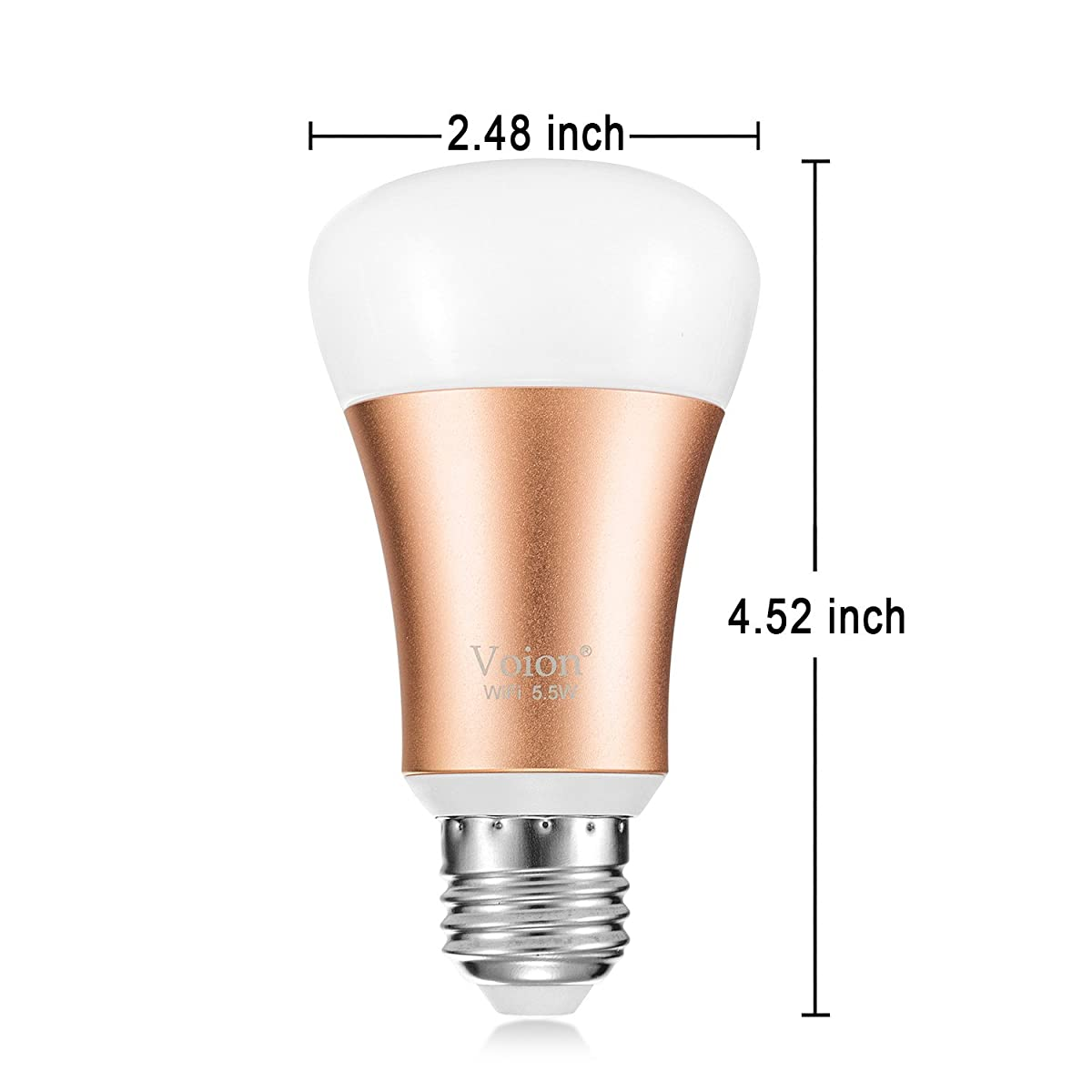 Voion WiFi Smart LED Bulb, Works with Alexa, Dimmable LED Light Bulb, Tunable Multicolor, 5.5W, Energy Saving, 1-Pack