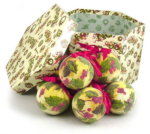 14-Piece Vintage Holly Berry Decoupage Christmas Ball Ornament Set