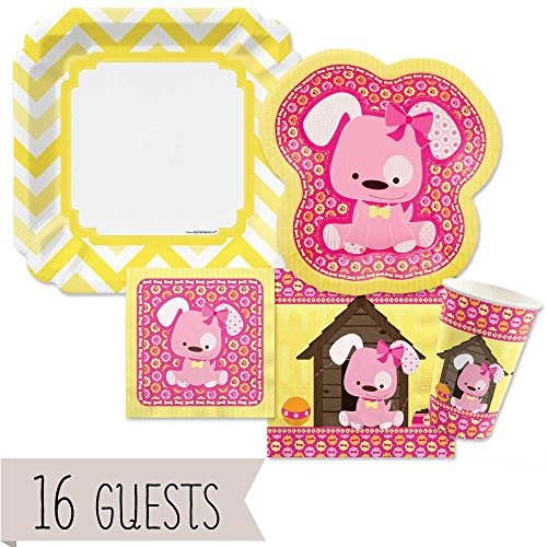 Girl Puppy Dog - Party Tableware Plates, Cups, Napkins - Bundle for 16