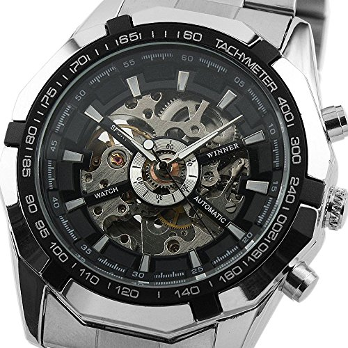 Ess Black Bezel Skeleton Dial Mechanical Automatic Watch Mens Stainless Steel Case Wm257 front-802160