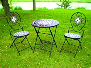 bistro round table 2 metal folding chairs 3 piece garden furniture