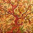 Tagesdecke Lebensbaum orange 235x205cm bunte V�gel Blumen indische Decke Baumwolle Tie Dye Style