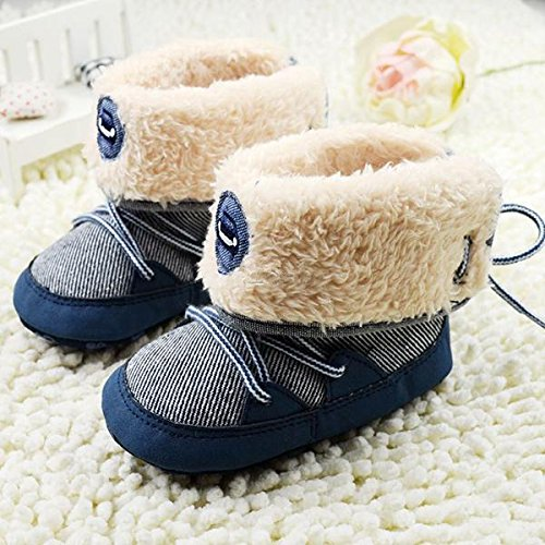 Kidstree Toddler Boots, Soft baby shoes, 0-18M Winter Baby Boy Boots Soft Sole Lace Up baby Soft Toddler Boots Shoes (13)