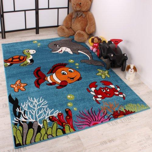 Tappeto Per Bambini Pesce Pagliaccio Cameretta Aqua Design Turchese Verde Crema, Grösse:120x170 cm