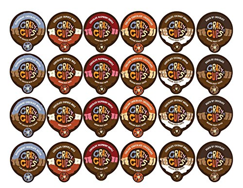 Crazy Cups Coffee Chocolate Lovers Single Serve Cups Variety Pack Sampler for the K Cup Brewer, 24 count (Single Cup Coffee Pods compare prices)