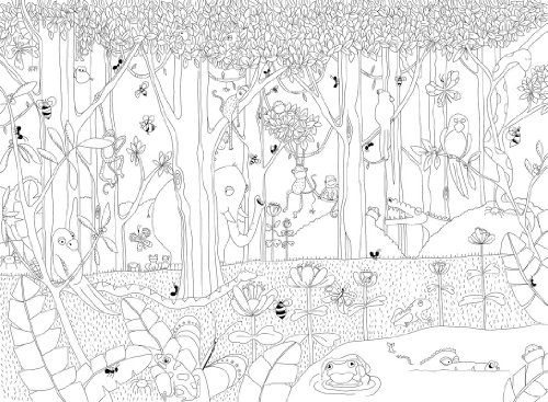 Dschungel zum ausmalen was for Dschungel malen