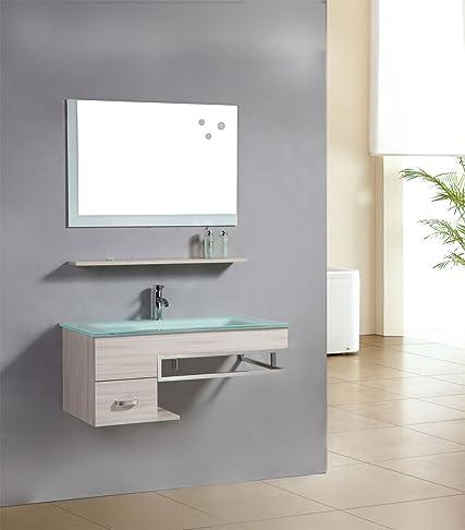 SixBros. Living Mobile da bagno - Arredo bagno Gela - quercia effetto legno - M-70130/2089 - Specchio - armadietto base - lavabo