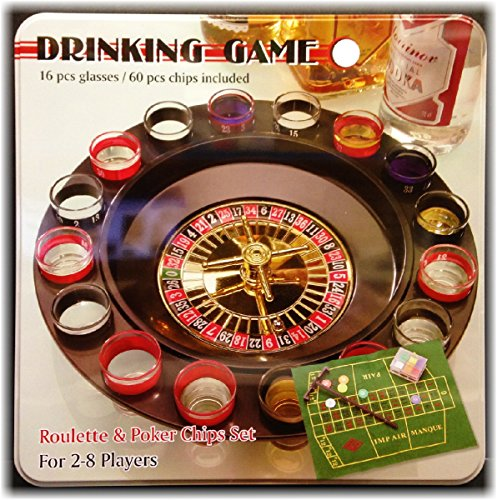 Big Save! 16 Shot Glass Roulette & Poker Chips Drinking Game Set in Tin Case