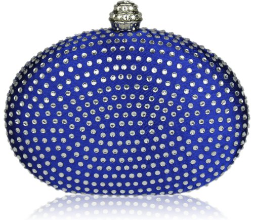 Womens Blue Diamante Oval Hardcase Wedding Clutch Evening Bag
