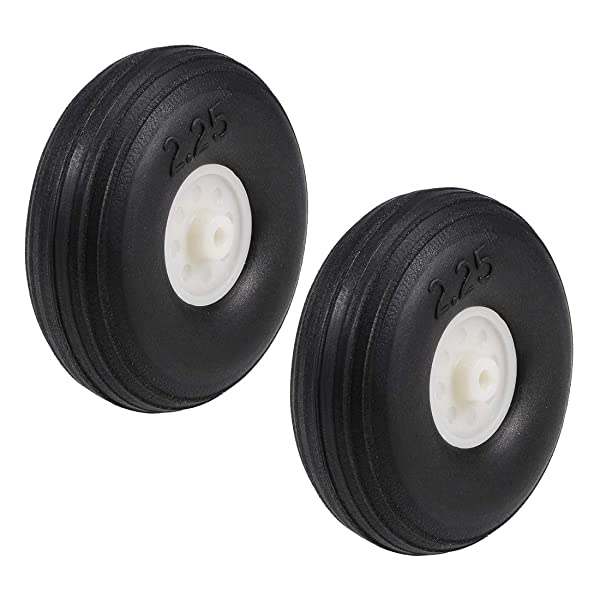 uxcell Tire and Wheel Sets for RC Airplane,PU Sponge Tire with Plastic Hub,2.25 inches 2pcs (Tamaño: 2.25 2pcs)