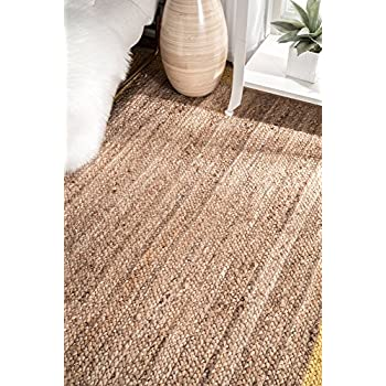 nuLOOM Natural Fibers Border Jute Area Rugs, 4 x 6, Gold
