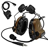 TAC-SKY Tactical Headset Comta II Helmet Version Noise Reduction Sound Pick Up for Airsoft Activities (Color: Coyote Brown)