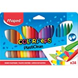 Maped Color'Peps Plasticlean Plastic Crayons, Assorted Colors, Pack of 24 (862013)