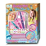 Girl Tattoos - Temporary Fake Glitter Tattoos Kit For Kids - The Set Includes Non Toxic Shimmer Metallic Stickers, Glitter Pens, Reusable Stencils, Earring and Ring Tattoos With An Ocean Theme