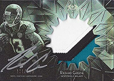 RASHAD GREENE Topps Diamond Football 3-COLOR JERSEY PATCH AUTOGRAPH (Game Used Jersey) Rookie Jacksonville Jaguars Rare Signed NFL Collectible Insert Trading Card #131/150