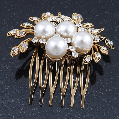 Bridal/ Wedding/ Prom/ Party Antique Gold Tone Clear Crystal, Simulated Pearl Cluster Hair Comb - 60mm 2