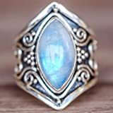 Zhiwen Antique Boho 925 Silver Natural Moonstone Women Jewelry Elegant Gemstone Wedding Ring Size 6-10 (US Code 8) (Tamaño: US code 8)