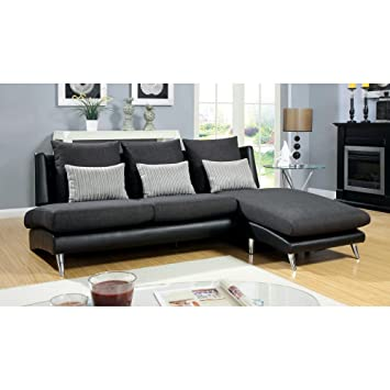 Furniture of America Clyde 2-Piece Fabric and Leatherette Sectional Sofa - Dark Gray / Black