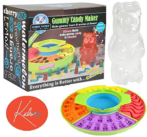 Gummy Candy Maker Set With Electric Heated Gelatin Pot And Molds For Gummy Worms, Bears, Fish, Candy, Kids, Gifts, Parties, Party Favors, Parents, Fun And Birthdays -By Kidsco (Gummy Making Machine compare prices)