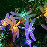 Outdoor Solar LED String Lights 5M 20 Leds Dragonfly Christmas Fairy String Garland Light for Outdoor Garden Yard Decoration (Multicolor)