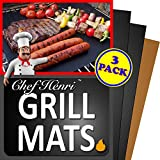 Chef Henri Grill Mat Lifetime Guarantee Set Of 3 Heavy Duty, Non-Stick Grilling Mats and Baking Mat - 16 x 13 Inch Use on Gas, Charcoal, Electric BBQ Grills Made With USA Raw Materials