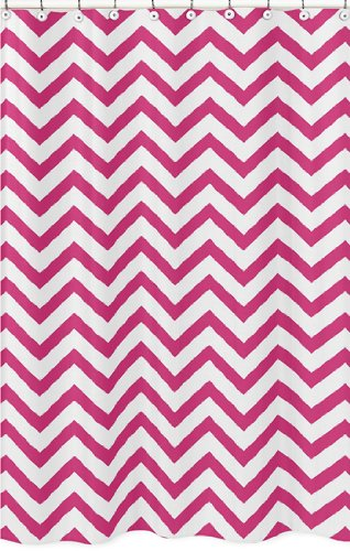 Hot Pink & White Chevron Zig Zag Fabric Shower Curtain