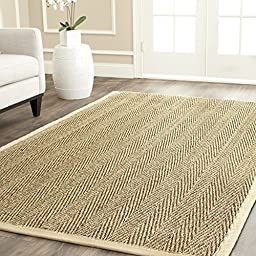 Safavieh Natural Fiber Collection NF115A Natural and Beige Seagrass Area Rug, 8 feet by 10 feet (8\' x 10\')