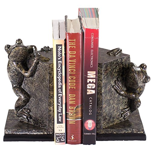 Decorative Resin Frog Bookends w/ Beautiful Intricate Designs for Organizing & Displaying Books in Your Home, Office or Study Room